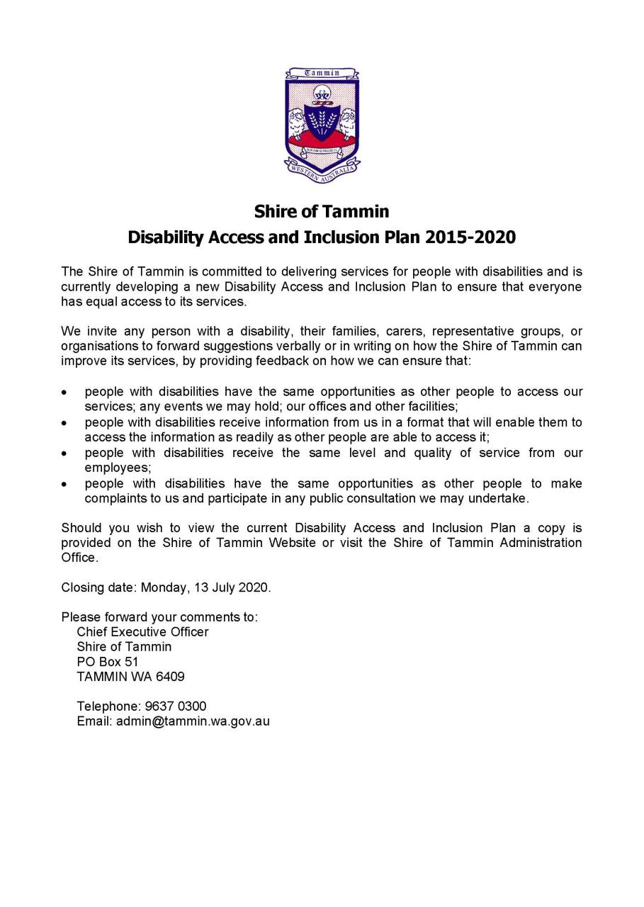 Disability Access and Improvement Plan Reveiw