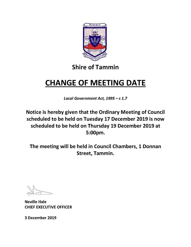 Change of Meeting Date